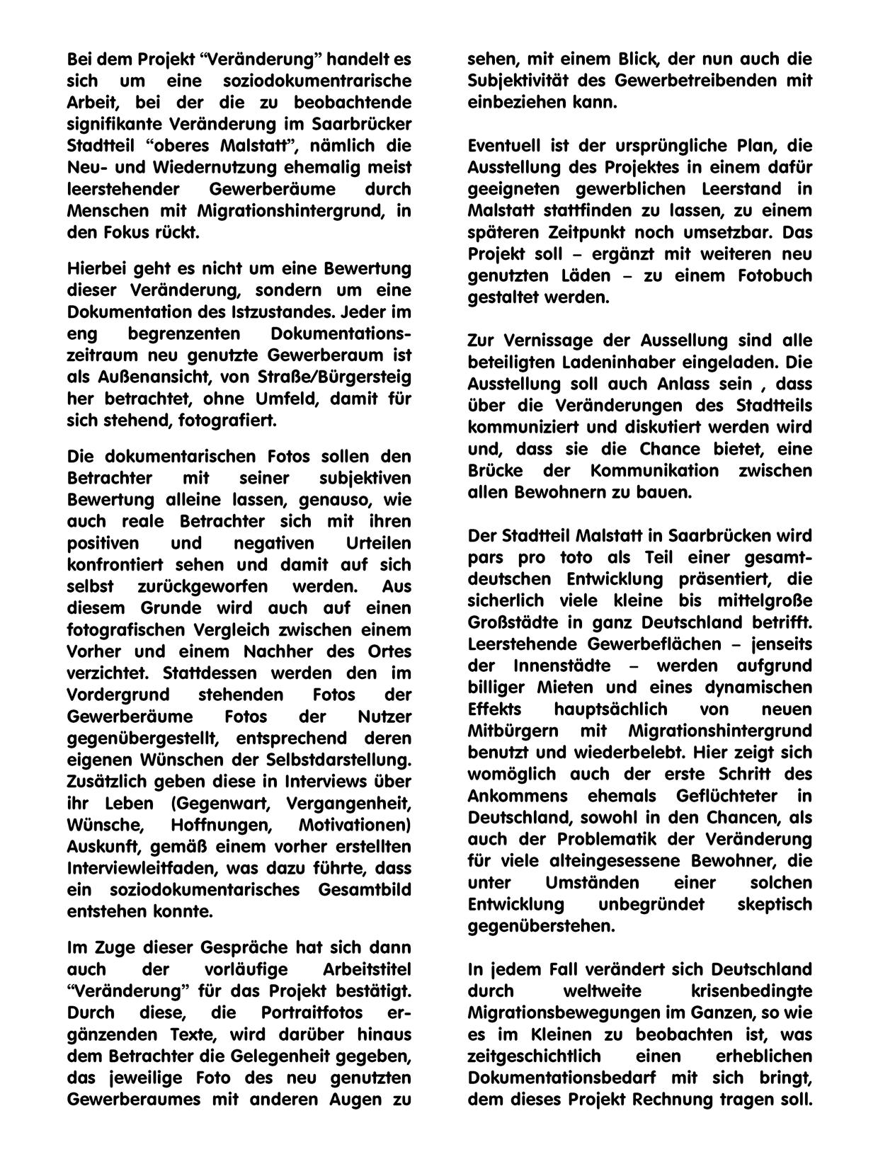 """Ausstellung der sozialdokumentarischen Arbeit """"Veränderung"""" – Text"""